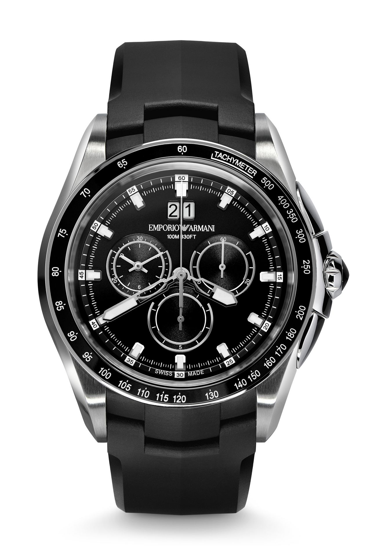 CHRONOGRAPH SWISS MADE WATCH WITH LEATHER STRAP: SWISS MADE WATCHES Men by Armani - 0
