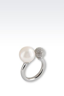 Armani Rings Women steel ring with pearl and swarovski crystals