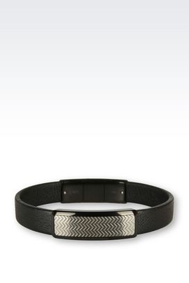 Armani Bracelets Men leather and steel bracelet