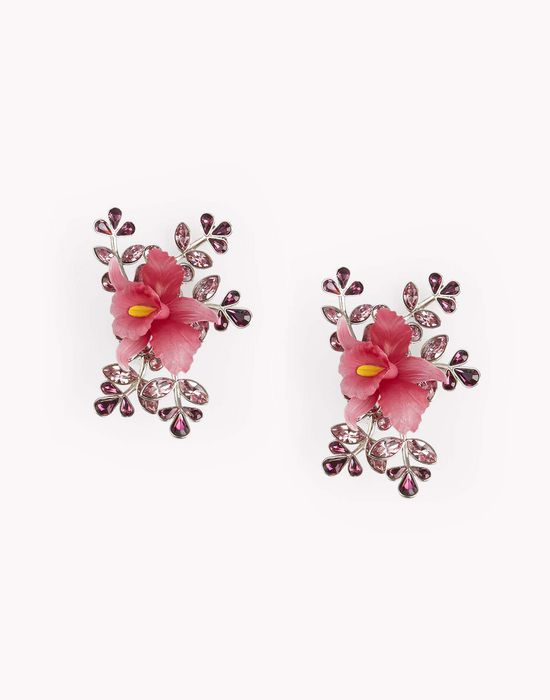flower crystal embellished earrings jewels Woman Dsquared2