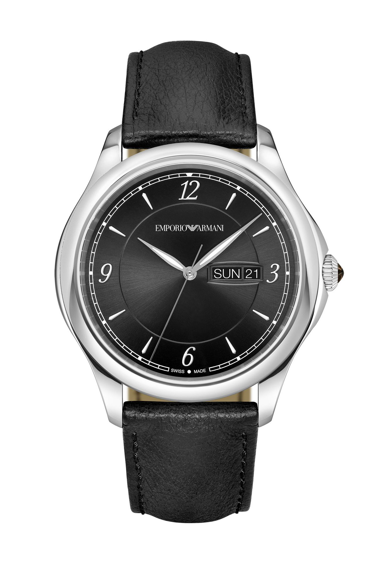 SWISS MADE WATCH WITH LEATHER STRAP: SWISS MADE WATCHES Men by Armani - 0