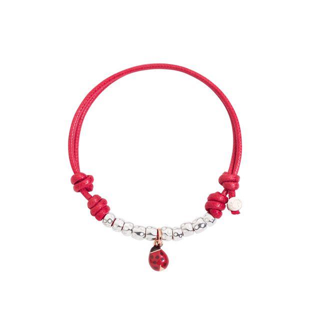 5957ea9c7 Ladybug Cord Bracelet - 9 Kt Rose Gold, Enamel, Cotton - DoDo | Official  Online Store