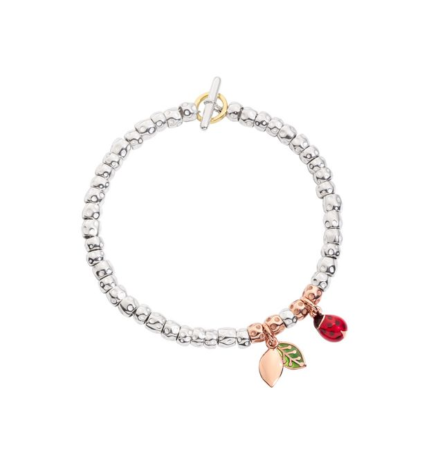Bracelet granelli ladybird and leaf