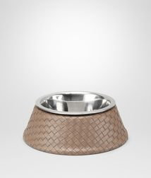 BOTTEGA VENETA - Living, Nero Palladio Intrecciato VN Brushed Steel Dog Bowl