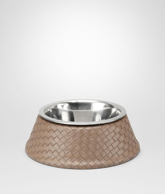 Nero Palladio Intrecciato VN Brushed Steel Dog Bowl