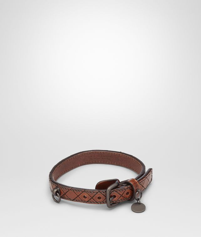 BOTTEGA VENETA Ebano Intreccio Scolpito Dog Collar Pet Accessory E fp