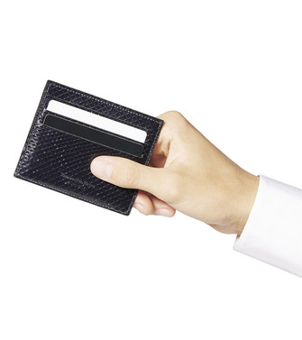 ERMENEGILDO ZEGNA: Credit Card Holder Black - 51121137CV