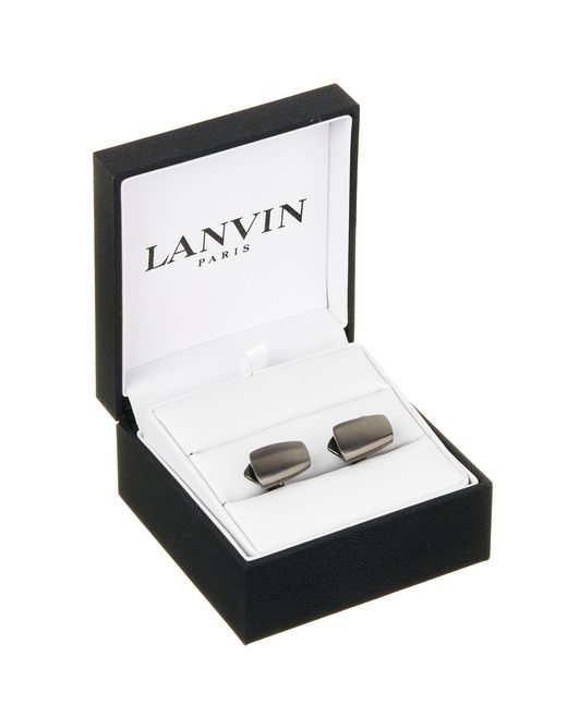 lanvin curved cuff links in ruthenium metal men