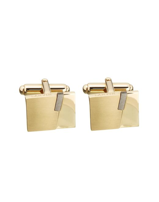 lanvin rectangular cuff links with obsidian  men