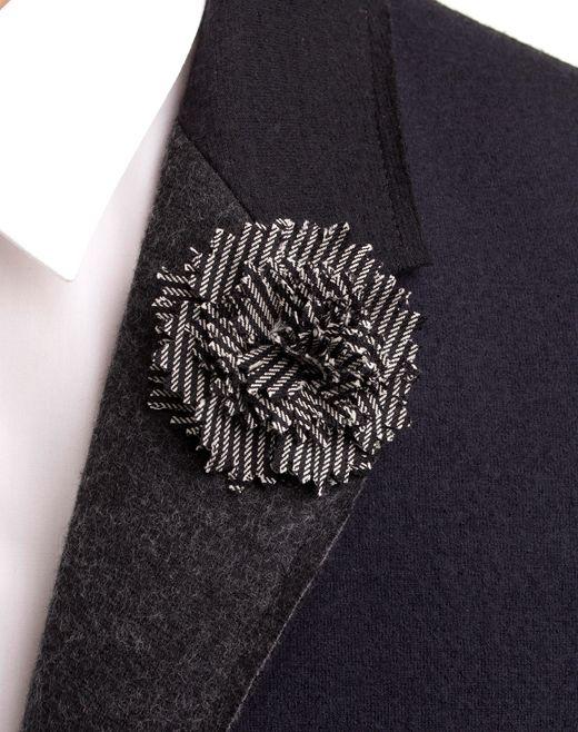 lanvin black & white carnation tie pin  men