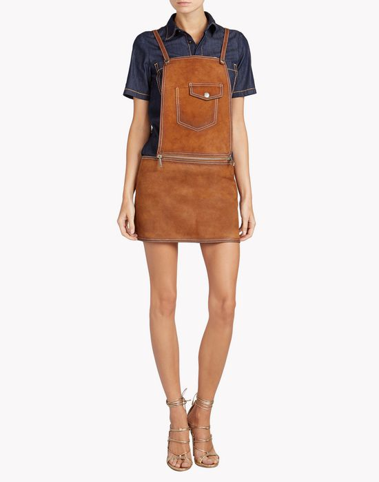 leather dungaree dresses Woman Dsquared2