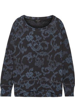 랙앤본 Rag & Bone Max oversized printed French cotton-terry sweatshirt,Indigo