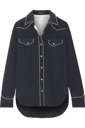 랙앤본 Rag & Bone Jesse silk crepe de chine shirt,Navy
