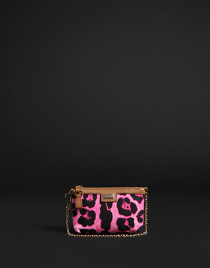 Canvas leopard print micro bag with leather trim - Small fabric bags - Dolce&Gabbana - Summer 2016
