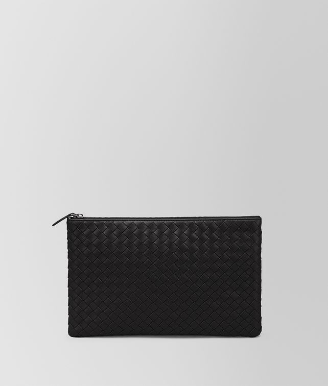 MEDIUM DOCUMENT CASE IN NERO INTRECCIATO NAPPA