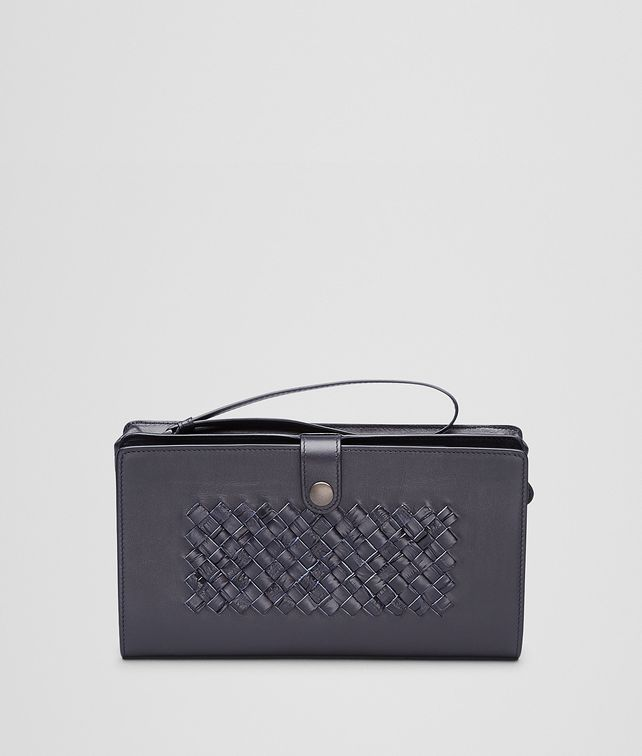 MULTI-FUNCTIONAL CASE IN TOURMALINE CALF AND CROCODILE, INTRECCIATO DETAILS