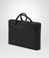 BUSINESS BAG NERA IN LIGHT CALF INTRECCIATO