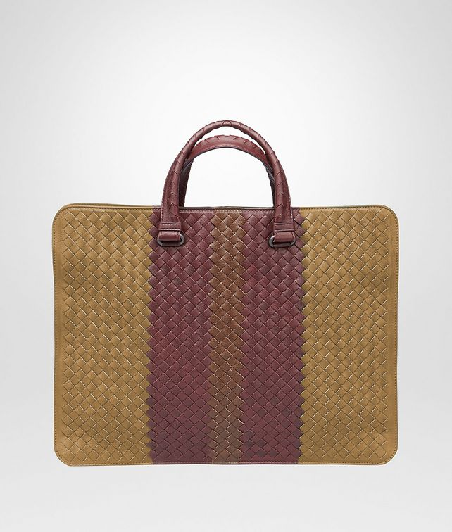 New Bronze Aubergine Edoardo Intrecciato Club Fumé Briefcase