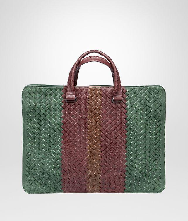 BOTTEGA VENETA Emerald Green Aubergine Edoardo Intrecciato Club Fumé Briefcase Business bag U fp