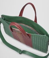 Emerald Green Aubergine Edoardo Intrecciato Club Fumé Briefcase