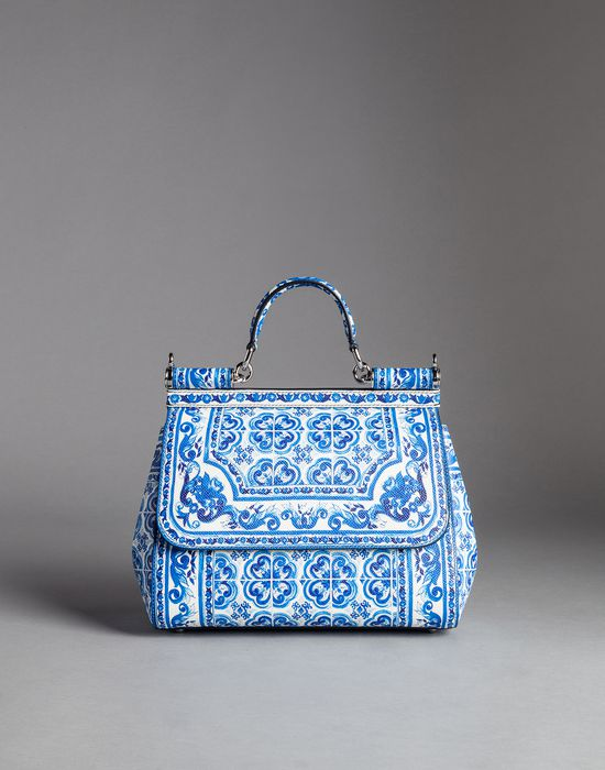 Blue Majolica Print Medium Calfskin Sicily Bag Dolce