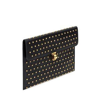 ALEXANDER MCQUEEN, Envelope, Black Nappa Leather Studded Skull Closure Envelope