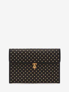 Black Nappa Leather Studded Skull Closure Envelope