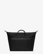 JACQUARD MONOGRAM SAINT LAURENT East/West Tote In Black Nylon and Leather