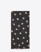 Signature Scarf in Black and Off White Daisy Printed Wool Étamine