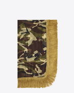 Signature Fringed Scarf in Khaki and Beige Camouflage Printed Wool Étamine