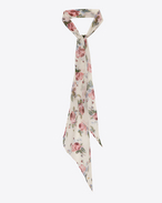 Classic SAINT LAURENT lavaliere in Off White and Pink Grunge Rose Printed Silk Crépon