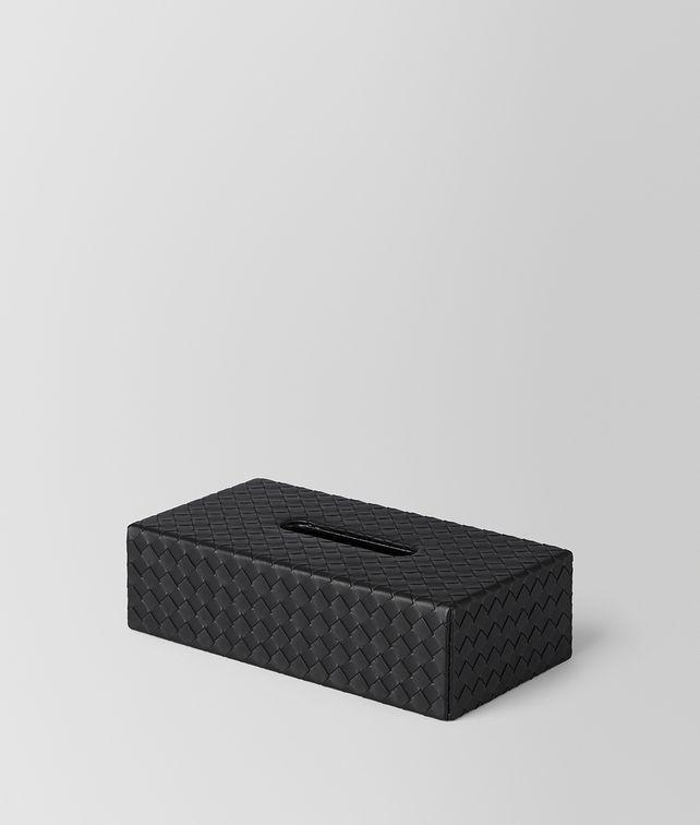 BOTTEGA VENETA TASCHENTUCH-BOX AUS INTRECCIATO NAPPA IN NERO Schreibtisch Accessoire E fp