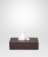 Horizontale Taschentuch-Box aus Nappaleder Intrecciato Ebano