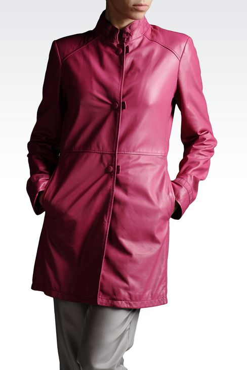 LEATHER COAT WITH MANDARIN COLLAR: Leather jackets Women by Armani - 1