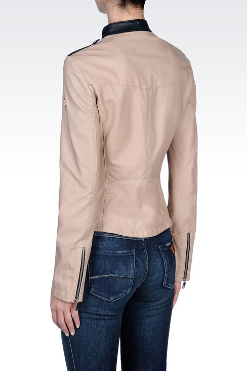LEATHER JACKET WITH ASYMMETRIC ZIPPER: Leather jackets Women by Armani - 3