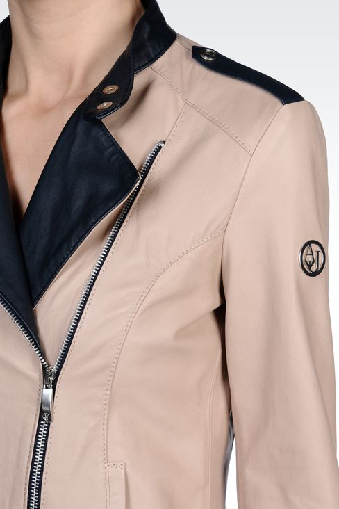 LEATHER JACKET WITH ASYMMETRIC ZIPPER: Leather jackets Women by Armani - 4