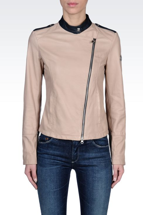 LEATHER JACKET WITH ASYMMETRIC ZIPPER: Leather jackets Women by Armani - 2