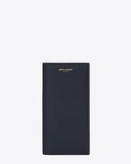 Classic Saint Laurent Paris Continental Wallet in Navy Blue Grain de Poudre Textured Leather