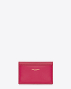 Classic SAINT LAURENT PARIS Credit CARD CASE IN Lipstick FUCHSIA LEATHER