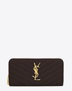 Monogram Saint Laurent Zip Around Wallet in dark magenta Grain de Poudre Textured Matelassé Leather