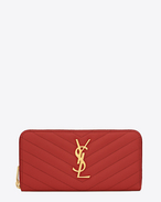 Monogram Saint Laurent Zip Around Wallet in Lipstick Red Grain de Poudre Textured Matelassé Leather