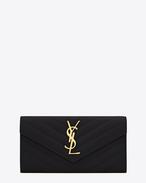 Large Monogram Saint Laurent Flap Wallet in Black Grain de Poudre Textured Matelassé Leather