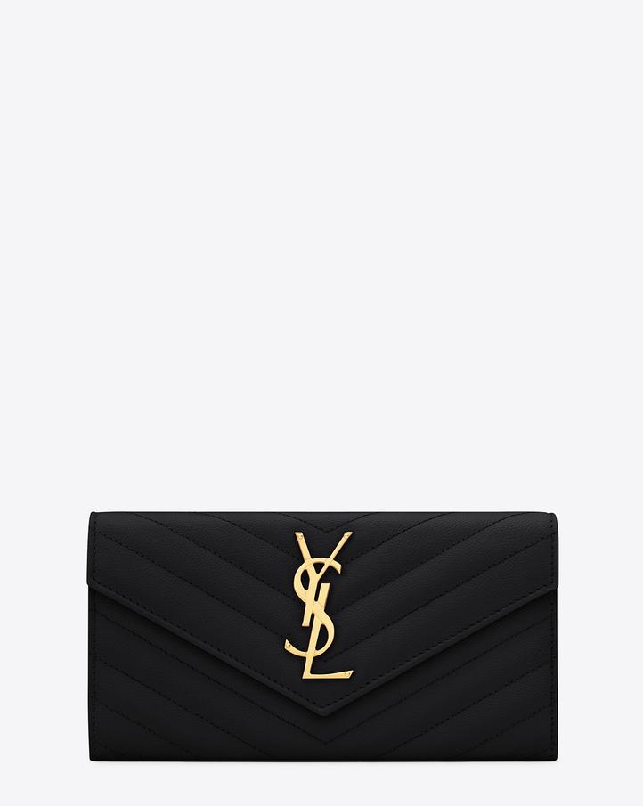 Saint Laurent Large Monogram Saint Laurent Flap Wallet In Black ...