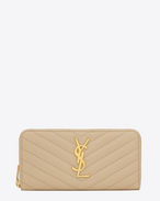 Monogram Saint Laurent Zip Around Wallet in Powder Grain de Poudre Textured Matelassé Leather
