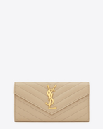 Large Monogram Saint Laurent Flap Wallet in Powder Grain de Poudre Textured matelassé Leather