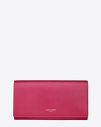 CLASSIC SAINT LAURENT PARIS FLAP WALLET IN Fuchsia LEATHER