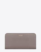 grand portefeuille zippé SAINT LAURENT PARIS en cuir gris clair