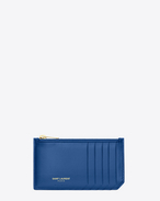 Astuccio Classic Saint Laurent Paris 5 Fragments blu royal in pelle con zip