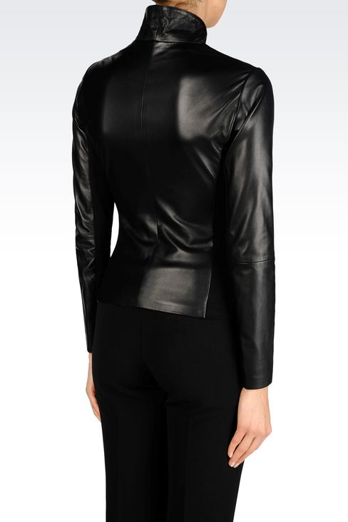BLOUSON IN NAPA LEATHER WITH JERSEY DETAILS: Light leather jackets Women by Armani - 3