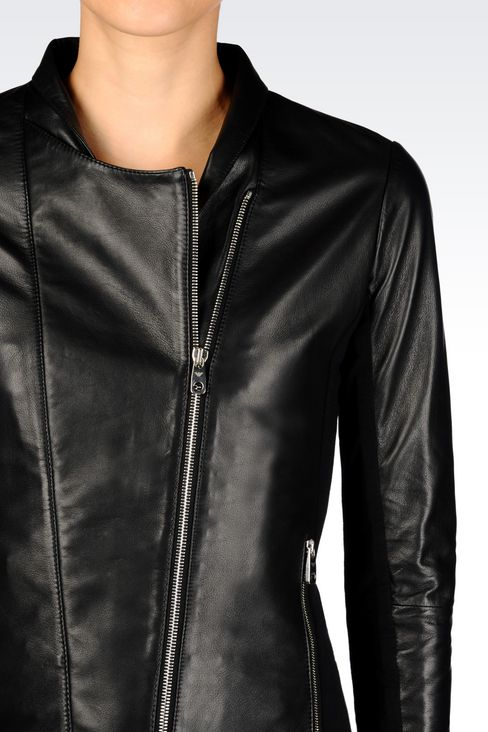BLOUSON IN NAPA LEATHER WITH JERSEY DETAILS: Light leather jackets Women by Armani - 4